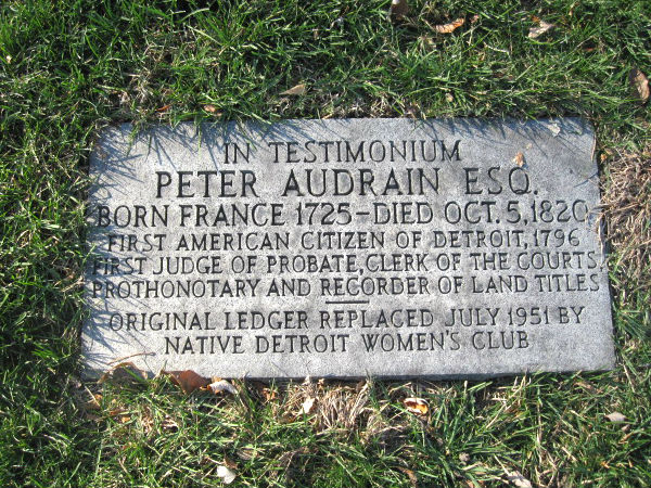 Audrain's replacement tombstone